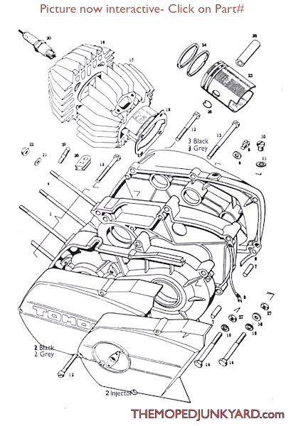 tomos a3 piston   cylinder   parts   2 bolt manifold
